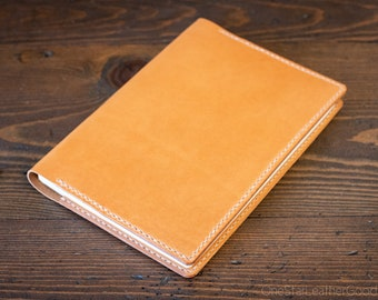 Hobonichi Cousin planner (fits other A5 notebooks) cover, + card pockets - tan bridle leather