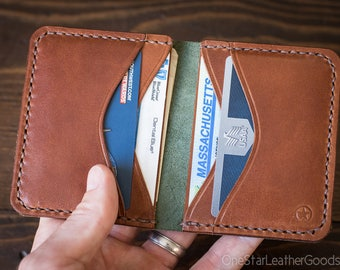 6 Pocket Horizontal wallet, Horween Chromexcel leather - forest green / chestnut / golden thread