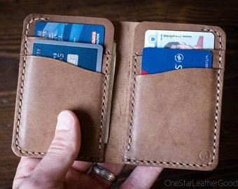 6 Pocket Vertical Leather Wallet, Horween Chromexcel - natural