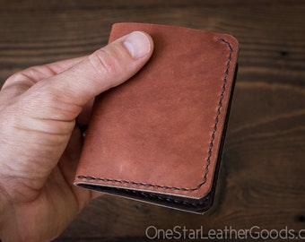 6 Pocket Horizontal Leather Wallet, Horween leather - cognac / brown