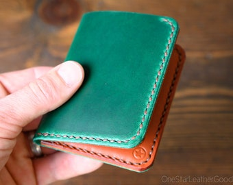 6 Pocket Horizontal Leather Wallet, Horween Chromexcel - bright green / chestnut bridle