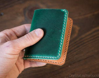 6 Pocket Horizontal compact wallet, Horween leather - green / tan