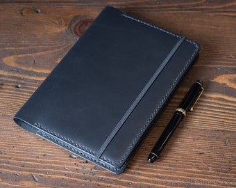 Leuchtturm 1917 Medium (A5) Hardcover Notebook cover + card pockets - black bridle leather