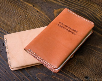Until Further Notice Celebrate Everything leather notebook cover, inspirational quote for Field Notes and other notebooks - oak or chestnut