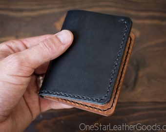 6 Pocket Horizontal wallet, Horween leather - black / natural