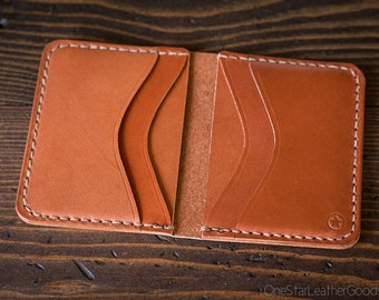 6 Pocket Horizontal compact wallet - chestnut bridle leather