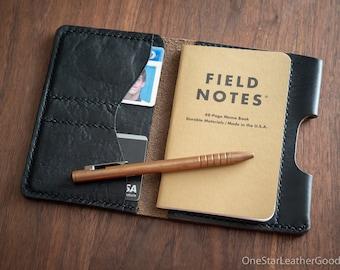 "Field Notes wallet with pen sleeve ""Park Sloper Senior"" Horween Chromexcel leather - black"