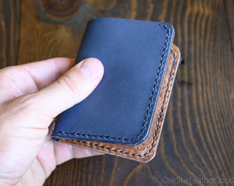 LIMITED RUN - 6 Pocket Horizontal Leather Wallet, Horween leather - slate blue / textured chestnut
