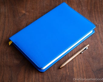 "Leather wrap cover for Baron Fig Confidant ""Plus"" size (7""x10""), includes notebook - blue"