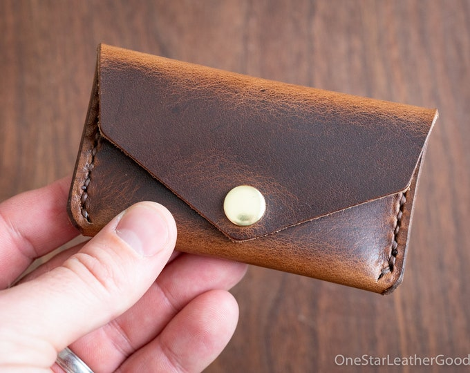 Coin pouch / wallet / business card case, Horween leather - brown Dublin