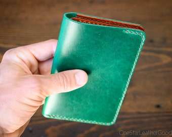 "Notebook wallet ""Park Sloper No Pen,"" fits Field Notes and other notebooks - Horween green Chromexcel / chestnut bridle"
