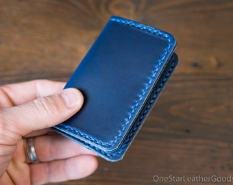 DISCOUNT - Two Pocket Card Wallet - Horween Chromexcel leather - blue