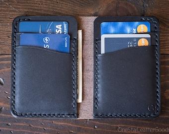 6 Pocket Vertical Wallet, Horween Chromexcel / bridle leather - black