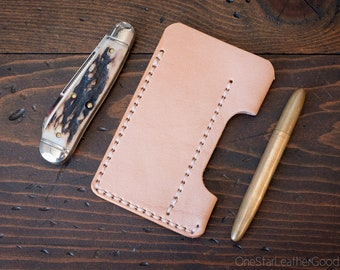 EDC-1, every day carry pocket knife and pen case, small size, for FisherSpacePen or Kaweco Liliput - natural veg skirting leather