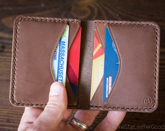 6 Pocket Horizontal Leather Wallet, Horween Chromexcel - natural / bark thread