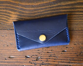 DISCOUNT Coin pouch / wallet / business card case with snap, Horween Chromexcel leather - blue