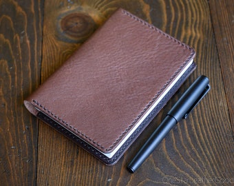LIMITED RUN Hobonichi Techo (A6 size) planner cover, leather journal cover - Horween pebble grain brown / dark brown