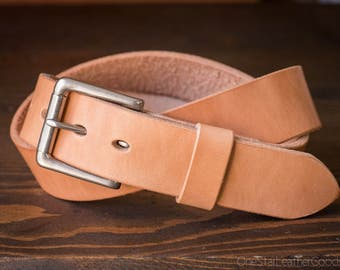 "Custom sized belt - 1.5"" width - 12 oz. tan harness leather - heel bar buckle"