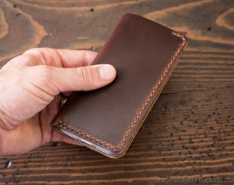 """iPhone 6 (4.7"""") cell phone wallet case, Horween Chromexcel leather - brown / chestnut"""