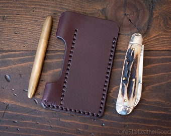EDC-1, every day carry pocket knife and pen case, small size, for FisherSpacePen or Kaweco Liliput - brown bridle leather