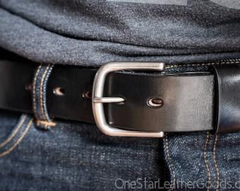 "Custom sized belt - 1.5"" width - 12 oz. black harness leather - heel bar buckle"