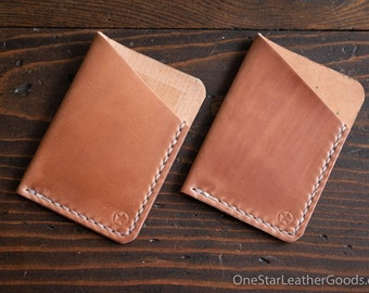 The Minimalist micro card wallet, business card holder, front pocket wallet - Horween shell cordovan, natural