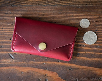 Coin pouch / wallet / business card case with snap, Horween Chromexcel leather - red