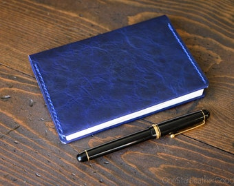 Leather wrap cover for A6 sized softcover notebooks - fits Hobonichi planner, Midori, Muji, Apica, Nanami and more - textured blue