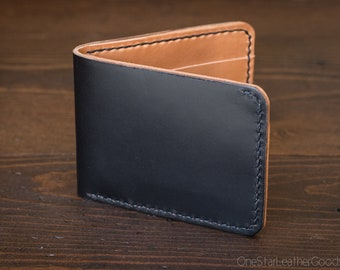 7 Pocket billfold wallet - black Chromexcel / tan harness leather
