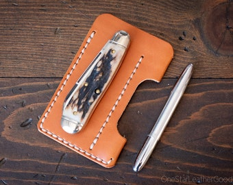 EDC-1, every day carry pocket knife and pen case, small size, for FisherSpacePen or Kaweco Liliput - chestnut bridle leather