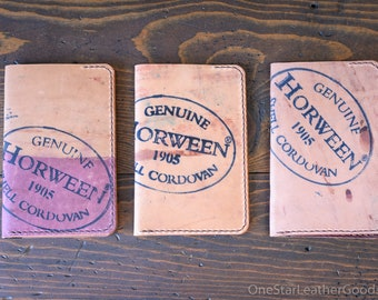 "Field Notes wallet, ""Park Sloper No Pen,"" wallet & notebook cover - Horween inside-out burgundy shell cordovan / chromexcel"