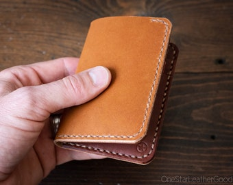 6 Pocket Vertical Leather Wallet, Horween leather - tan / medium brown