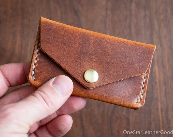 Coin pouch / wallet / business card case with snap, Horween leather - chestnut Dublin