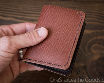 6 Pocket Horizontal Leather Wallet, Horween leather - crosshatch / brown