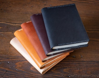 Leather wrap cover for A6 sized softcover notebooks - fits Hobonichi planner, Midori, Muji, Apica, Nanami and more