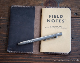 """Simple leather notebook cover for Field Notes and other 3.5x5.5"""" pocket notebooks - espresso"""