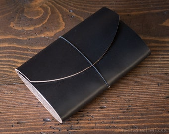 "TEXTURED Indie Pen Notebook, cover for Field Notes and other 3.5""x5.5"" notebooks - black Horween Chromexcel"