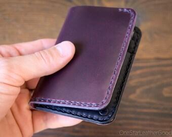 6 Pocket Vertical Wallet - Horween Chromexcel leather - plum / black bridle