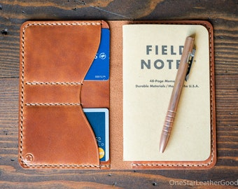 "Notebook wallet ""Park Sloper No Pen,"" fits Field Notes and other notebooks - chestnut harness leather"