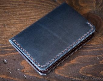 6 Pocket Vertical wallet, Horween Chromexcel / bridle leather - navy / brown
