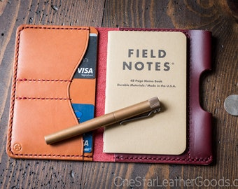 "Field Notes wallet with pen sleeve ""Park Sloper Senior"" Horween Chromexcel leather - red / tan"