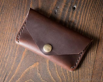 Coin pouch / wallet / business card case with snap, Horween Chromexcel leather - brown