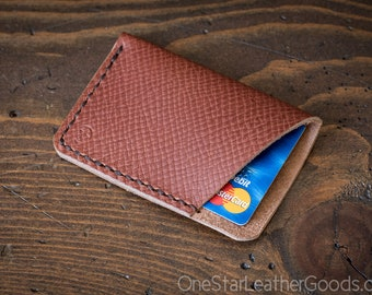The Minimalist: micro card wallet - Horween crosshatch textured leather