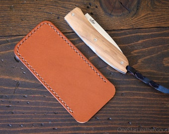 "Pocket knife slip case, size Large, for knives up to 4"" closed length - chestnut bridle leather"