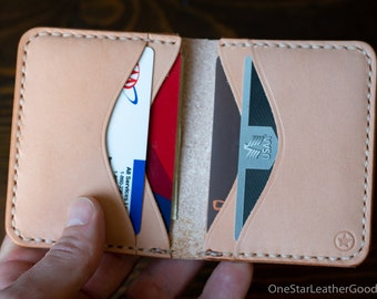 6 Pocket Horizontal Leather Wallet - natural veg