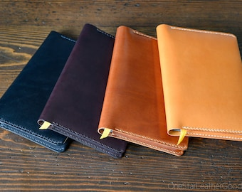 "Leather wrap cover for Baron Fig Confidant A5 ""Flagship"" size, includes notebook"