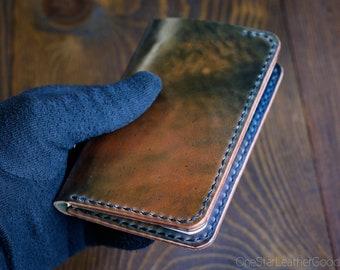 "Notebook/Wallet for A7 notebooks ""Park Sloper Medium No Pen"" - Horween marbled shell cordovan / black thread"