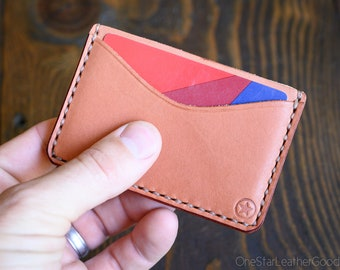 Three Pocket Flat Wallet - chestnut skirting leather