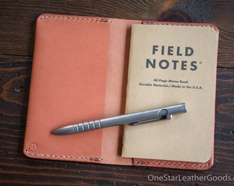 """Simple leather notebook cover for Field Notes and other 3.5x5.5"""" pocket notebooks - chestnut skirting"""