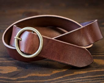 "Custom sized belt - 1.5"" width - THICK 12 oz. chestnut harness leather - center bar buckle"